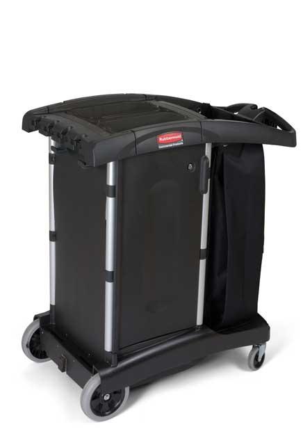 Chariots de concierge rubbermaid produits sanitaires pour l 39 entretien m nager et le nettoyage for Chariot de menage rubbermaid