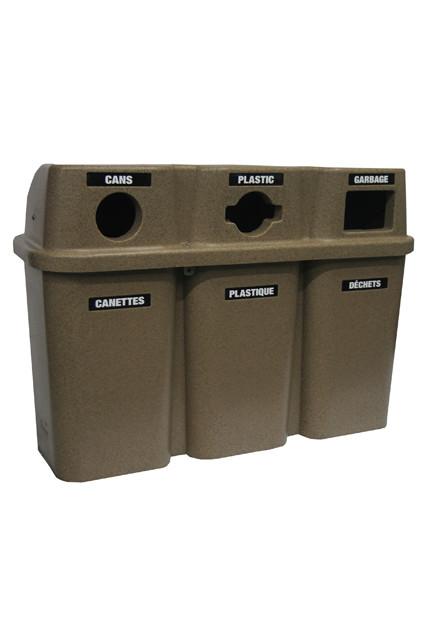 station de recyclage trois sections bullseye. Black Bedroom Furniture Sets. Home Design Ideas