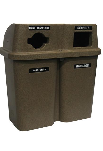 station de recyclage deux sections bullseye wh000565bru. Black Bedroom Furniture Sets. Home Design Ideas