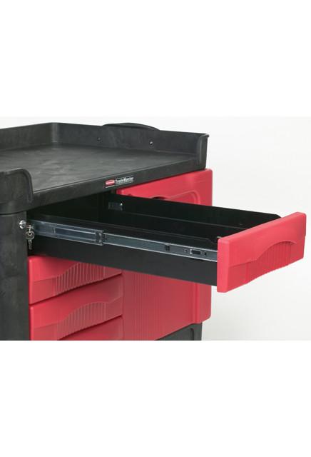 Chariot de travail tiroirs et portes verrouillables rubbermaid 4533 88 fg453388bla for Chariot de menage rubbermaid