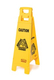 "Trilingual Floor Sign ""Caution"" Printed on Four Sides #RB006114000"