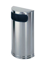 Half Cylindrical Stainless Steel Decorative Waste Receptacle #RB000SO8000