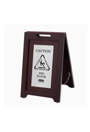 Trilingual 2-Sided Wooden Caution Sign Executive Series #RB186750800
