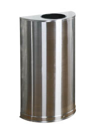 Half Cylindrical Stainles Steel Open Top Waste Receptacle #RB00SO12SSS