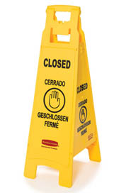 "Floor Sign with Multi-Lingual ""Closed"" Imprint 4-Sided #RB611478JAU"