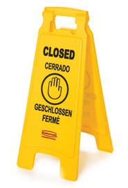 "Floor Sign with Multi-Lingual ""Closed"" Imprint 2-sided #RB611278000"