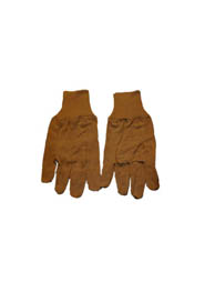 8 oz Cotton gloves, knit wrist, brown #TR000T8KBRU