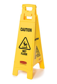 "Floor Sign with ""Caution Wet Floor"" Imprint, 4-Sided #RB611477JAU"