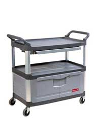 Utility Cart 4094 Three Shelves X-Tra with Lockable Cabinet #RB004094GRI