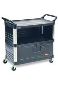 Service Cart with 3-Shelf, 3 End Panels and Lockable Doors Rubbermaid 4094 #RB004095NOI