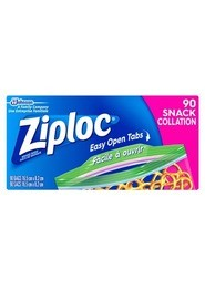 Snack Bags with Easy Open Tabs Ziploc, 90 bags #PR700662000