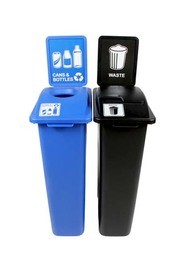 Duo Containers for Cans and Bottle-Waste Waste Watcher, Blue-Grey #BU101053000