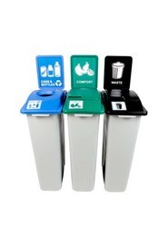 Trio Containers for Cans, Compost and Waste Waste Watcher, Lift Lid #BU100999000