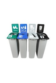 Quatuor Containers Cans, Paper, Compost and Waste Waste Watcher, Open #BU101014000
