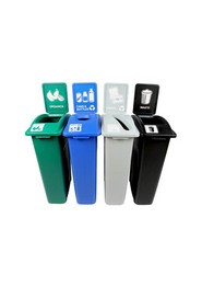 Quatuor Containers Cans, Paper, Organic and Waste Waste Watcher, Open and Colored Base #BU101082000