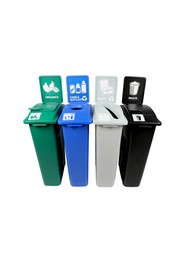 Quatuor Containers Cans, Paper, Organic and Waste Waste Watcher, Closed and Colored Base #BU101083000