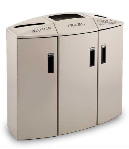 station de recyclage trois sections avec doublure en. Black Bedroom Furniture Sets. Home Design Ideas