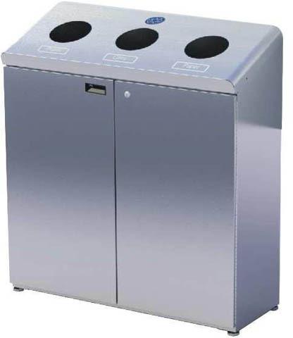 station de recyclage frost 3 compartiments en acier. Black Bedroom Furniture Sets. Home Design Ideas