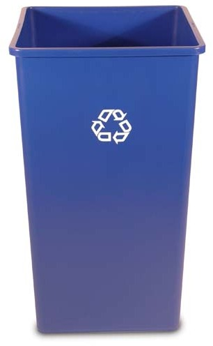 Square Recycling Container Untouchable 50 gal #RB395973BLE