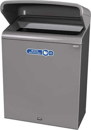 Configure Outdoor Recycling Container with Rain Hood, 45 gal #RB196174400
