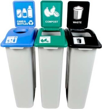 Trio Containers for Cans, Compost and Waste Waste Watcher #BU100998000