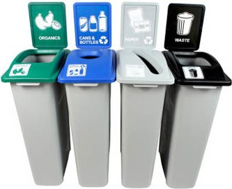 Quatuor Containers Cans, Paper, Organic and Waste Waste Watcher, Open and Grey Base #BU101010000