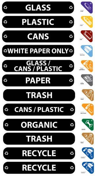 Applicable Recycling Labels for Recycling Bins #RB179297500